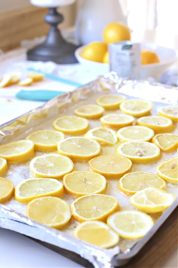 Slicing the lemons for one pan lemon shrimp recipe