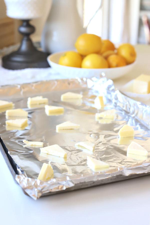 Melting butter for one pan lemon shrimp recipe