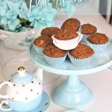 Reduced calorie Morning glory muffins, with healthy ingredients like carrots, apple, pineapple, coconut, raisins and pecans for a delicious snack.