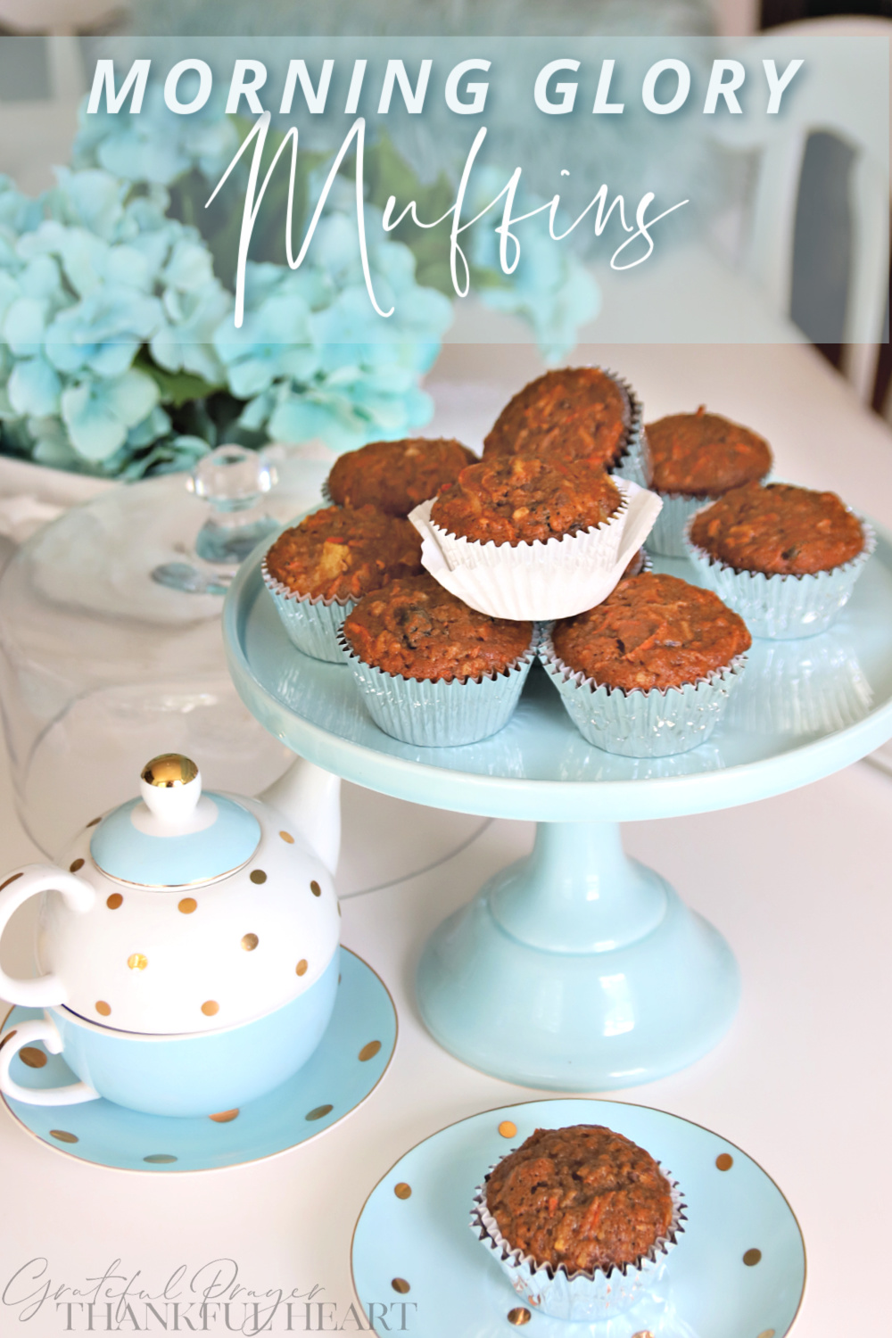 Morning glory muffins, with healthy ingredients like carrots, apple, pineapple, coconut, raisins and pecans for a delicious snack.
