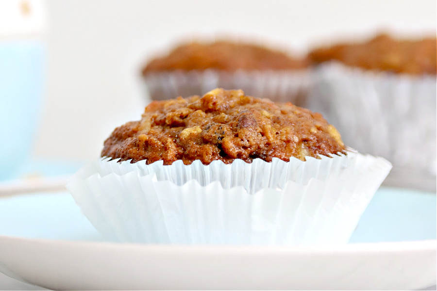 perfect morning glory recipe muffin with carrot, apple, pineapple, coconut and raisins.