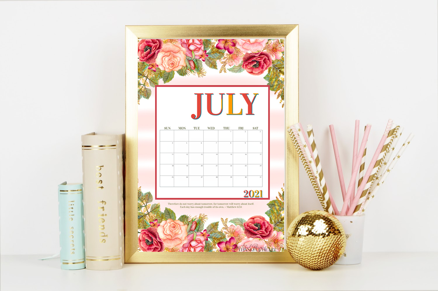 FREE July Calendar and weekly planner printables to keep you organized this summer. Pretty rose blossoms help welcome the month of July. A 2021 and blank version to use year after year.