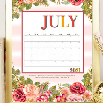 Stay organized with a pretty printable calendar of blooming rose blossoms to welcome the month of July. A 2021 and blank version for any year.