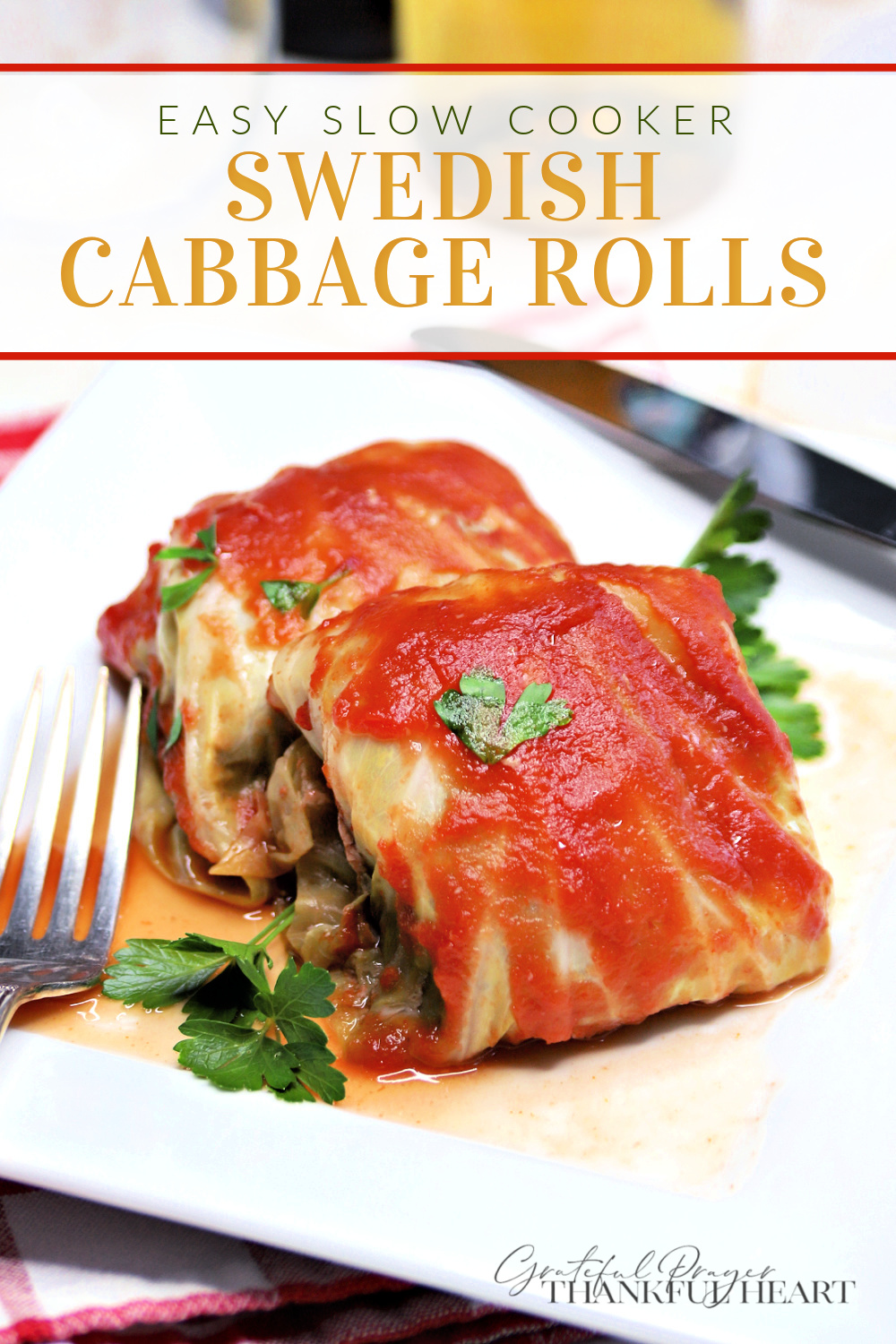 Easy slow cooker recipe for Swedish cabbage rolls filled with ground beef and rice in a tasty sauce is a comforting and satisfying Sunday dinner and on those busy days when a crockpot meal is helpful .