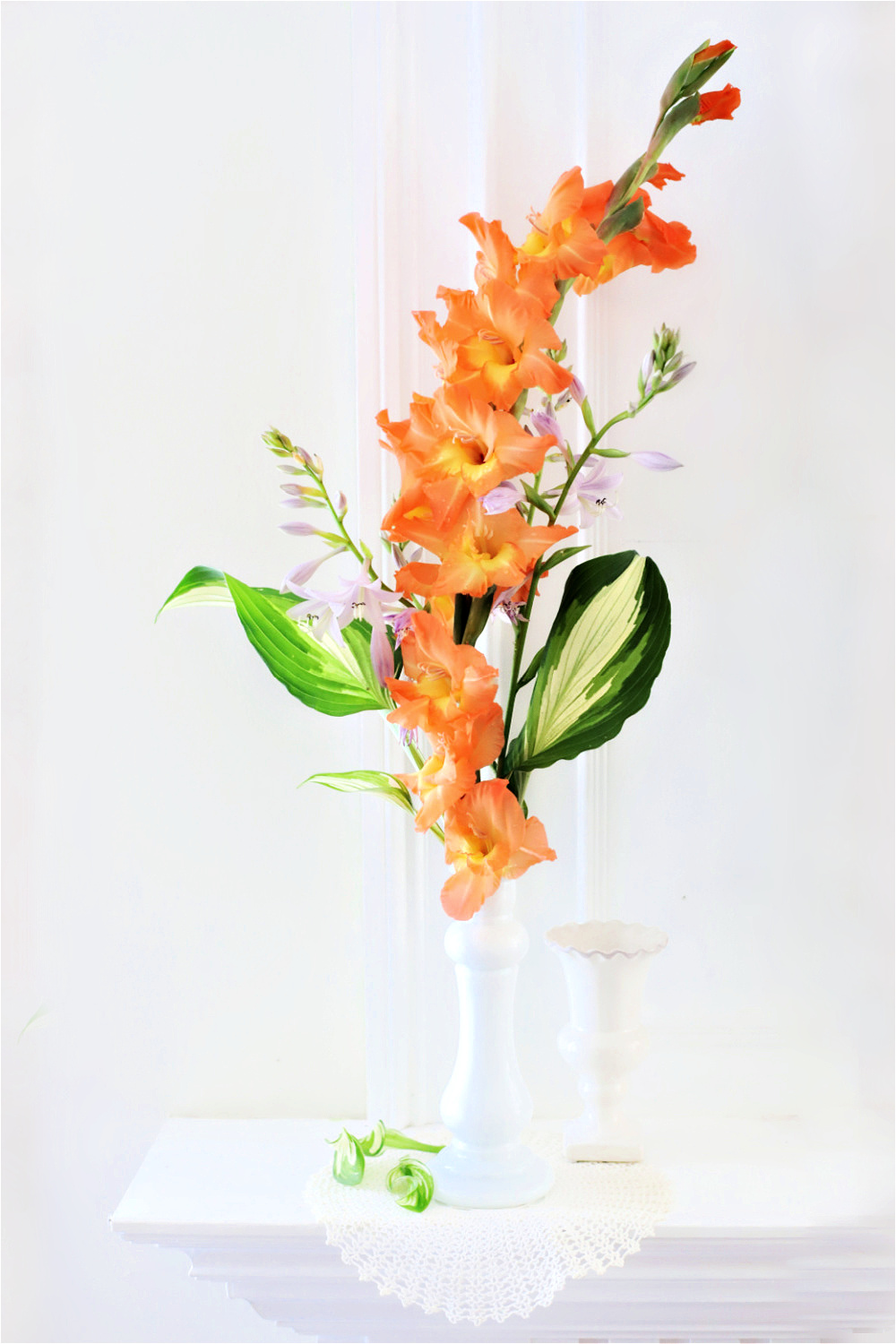 Orange gladiolus stem broken during a storm and gathered after the rain