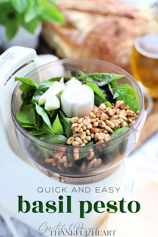 Easy fresh basil pesto recipe. Just basil leaves, olive oil, pine nuts, Parmesan, salt & pepper. Serve on pasta, panini and grilled veggies.