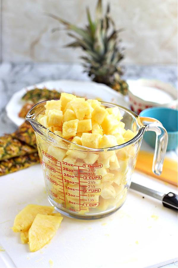 measuring fresh pineapple