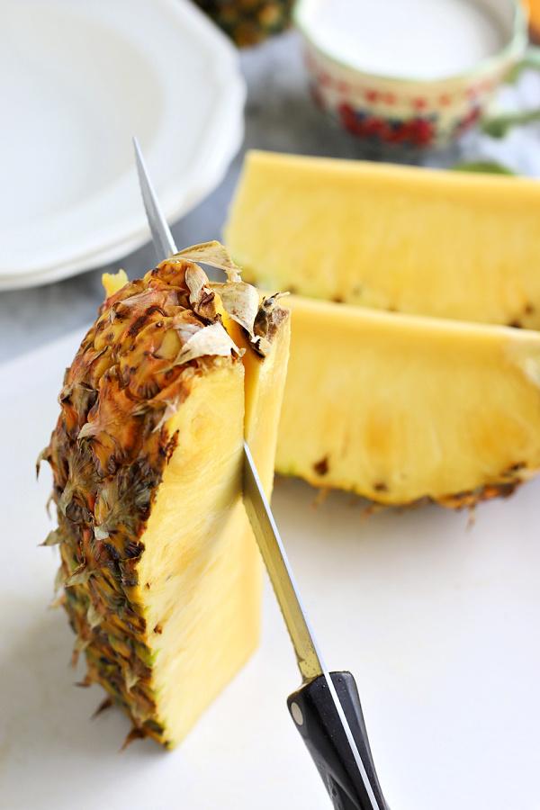 coring a fresh pineapple