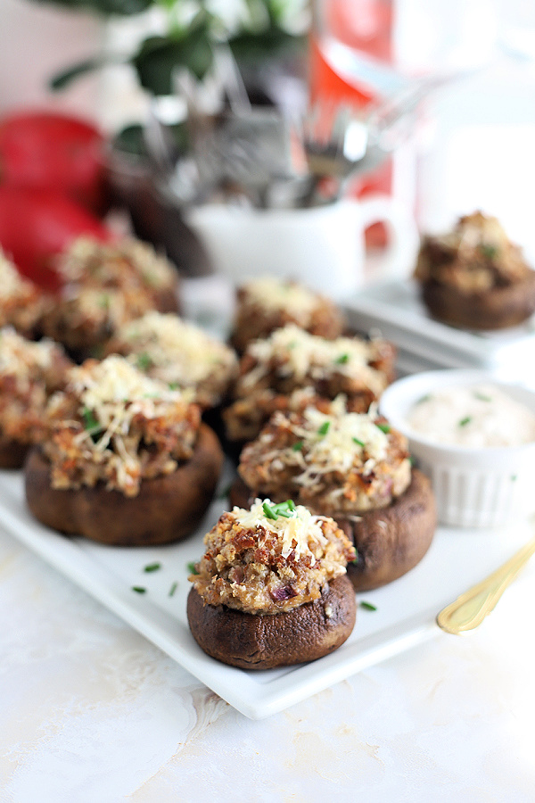 Perfect appetizer for holidays, sausage stuffed mushrooms are hearty & a party favorite. An easy recipe to serve on your charcuterie board.