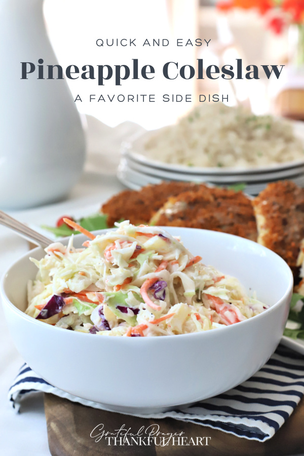 A super easy recipe for pineapple coleslaw with a Hawaiian flair. Great side dish with pulled pork, grilled burgers, chicken and hotdogs.