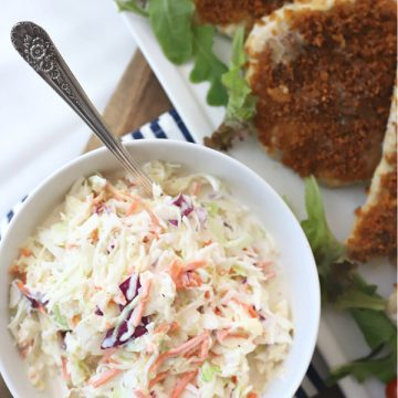 How to make pineapple coleslaw. A super easy recipe with a Hawaiian flair great with pulled pork or burgers.