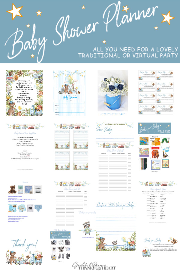 Forest theme baby shower ideas for hosting a traditional or virtual baby boy celebration. Print your own invitations, thank-you, Baby Books and Wishes for Baby cards. Perfect food ideas with easy recipes and a fun party game. Helpful planning guest and gift lists plus the sweetest table décor for boys and so much more!