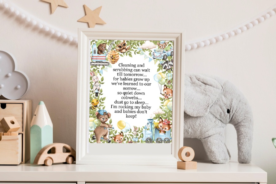 Soft cuddly forest animals with cute car, truck and train toys is the theme around a sweet, Babies Don't Keep poem. A lovely baby boy shower gift to print, frame or use to decorate a nursery.